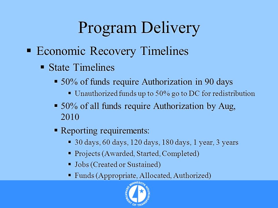 Program Delivery Economic Recovery Timelines State Timelines 50% of funds require Authorization in 90 days Unauthorized funds up to 50% go to DC for r