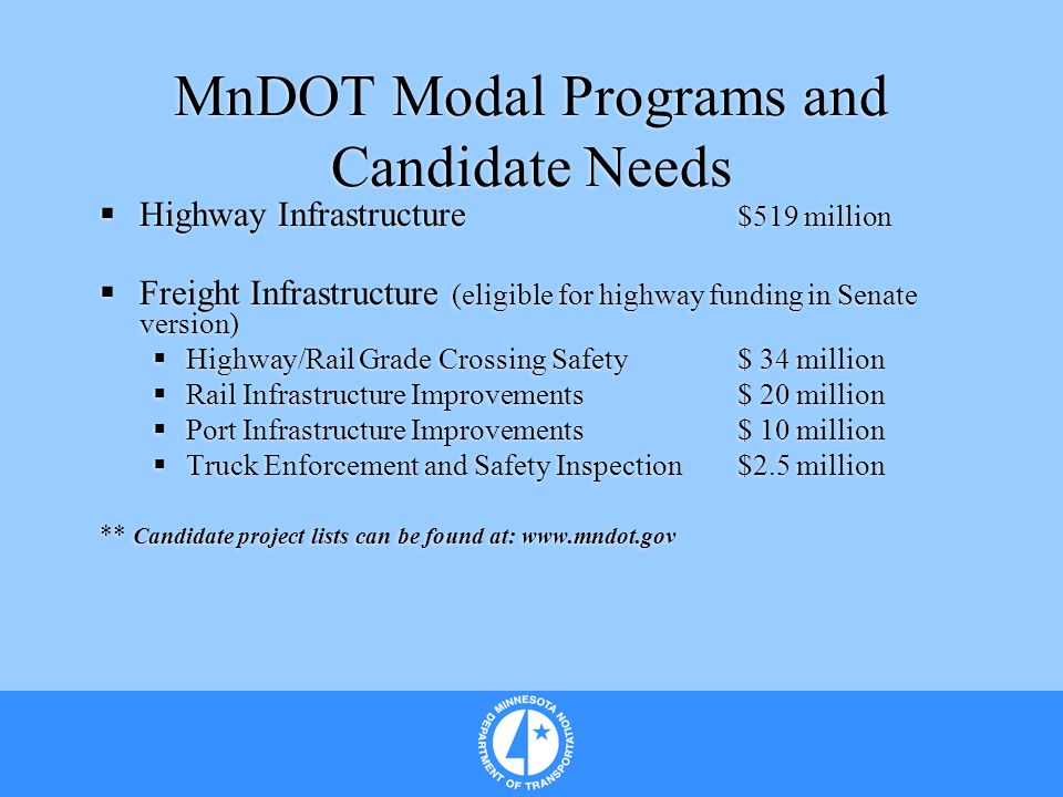 MnDOT Modal Programs and Candidate Needs Highway Infrastructure $519 million Freight Infrastructure (eligible for highway funding in Senate version) Highway/Rail Grade Crossing Safety$ 34 million Rail Infrastructure Improvements$ 20 million Port Infrastructure Improvements$ 10 million Truck Enforcement and Safety Inspection$2.5 million ** Candidate project lists can be found at: www.mndot.gov Highway Infrastructure $519 million Freight Infrastructure (eligible for highway funding in Senate version) Highway/Rail Grade Crossing Safety$ 34 million Rail Infrastructure Improvements$ 20 million Port Infrastructure Improvements$ 10 million Truck Enforcement and Safety Inspection$2.5 million ** Candidate project lists can be found at: www.mndot.gov
