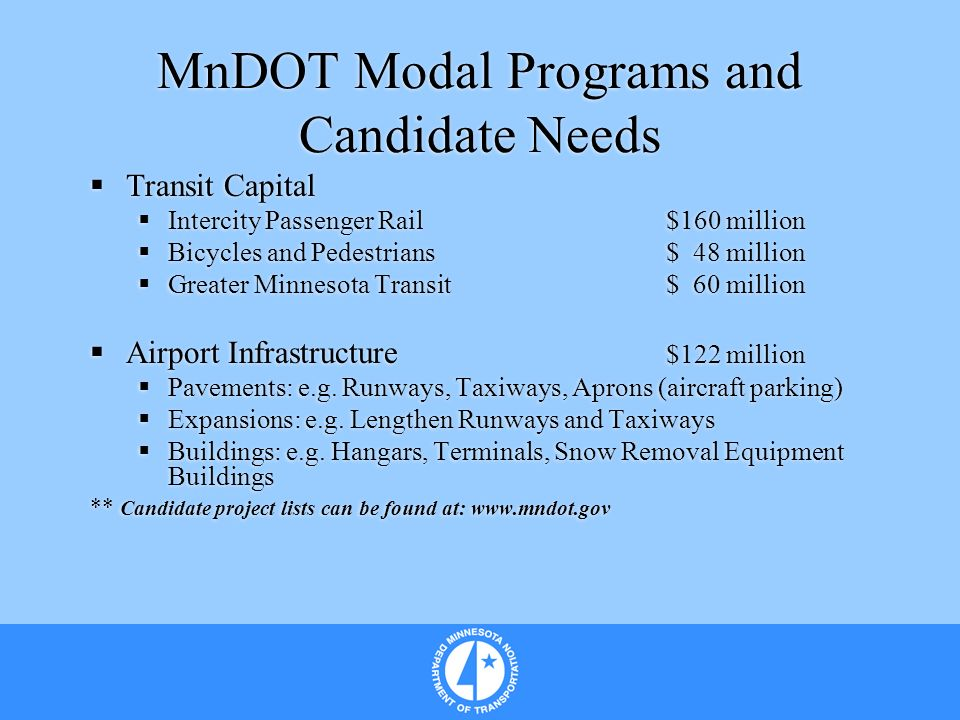 MnDOT Modal Programs and Candidate Needs Transit Capital Intercity Passenger Rail$160 million Bicycles and Pedestrians$ 48 million Greater Minnesota T