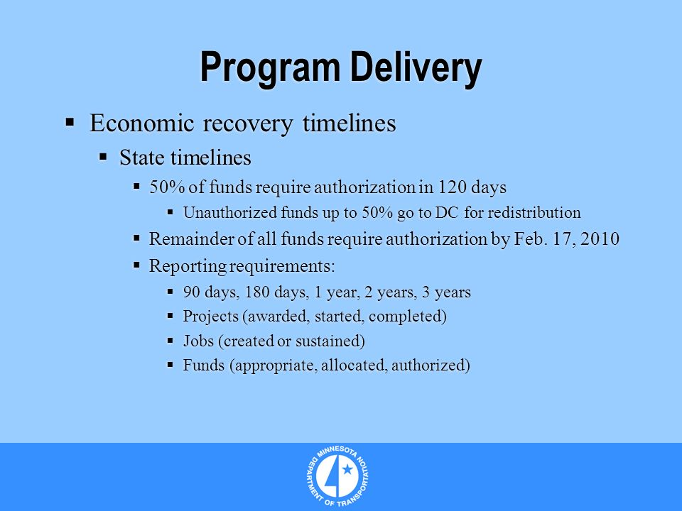Program Delivery Economic recovery timelines State timelines 50% of funds require authorization in 120 days Unauthorized funds up to 50% go to DC for redistribution Remainder of all funds require authorization by Feb.