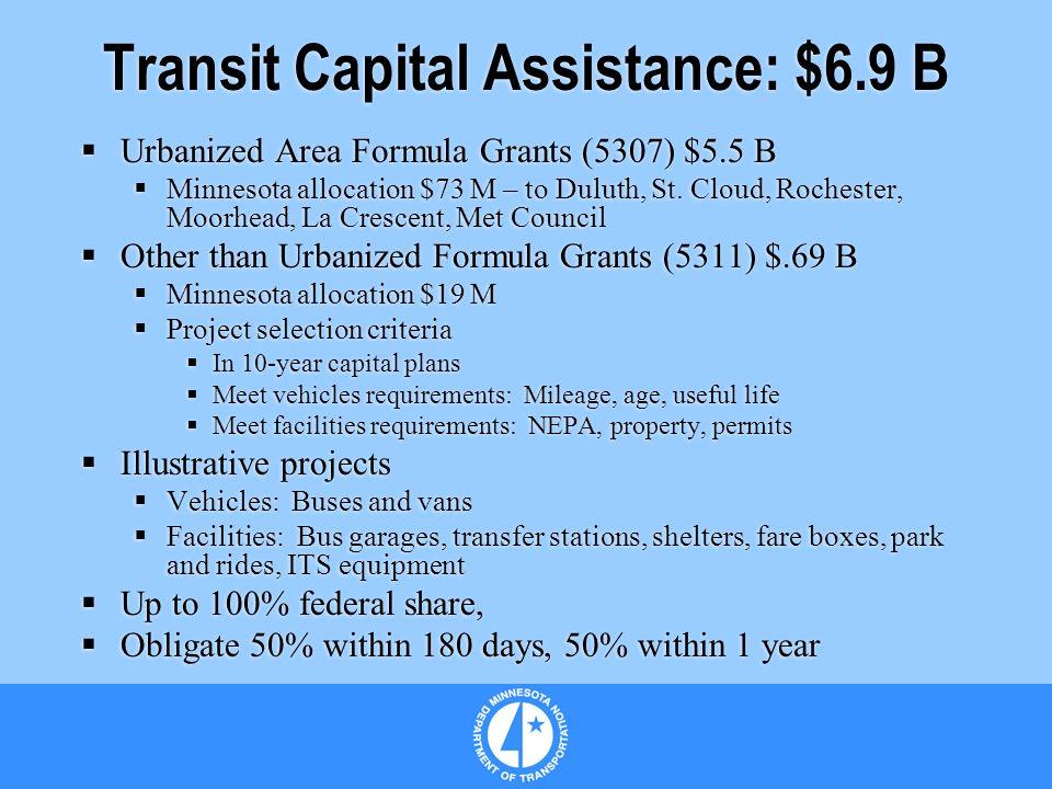 Transit Capital Assistance: $6.9 B Urbanized Area Formula Grants (5307) $5.5 B Minnesota allocation $73 M – to Duluth, St.