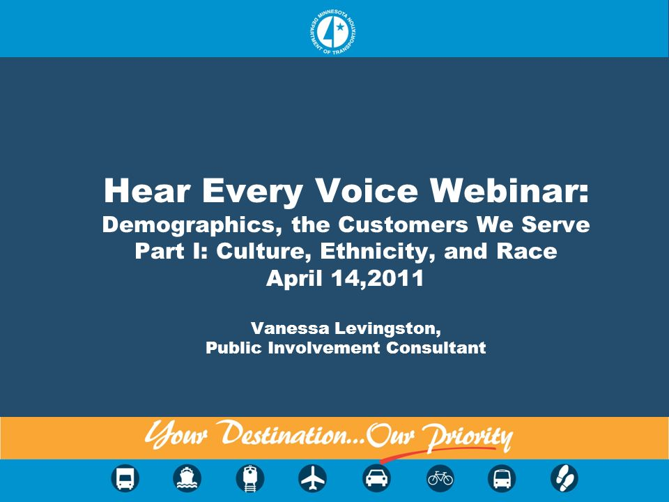 Hear Every Voice Webinar: Demographics, the Customers We Serve Part I: Culture, Ethnicity, and Race April 14,2011 Vanessa Levingston, Public Involveme