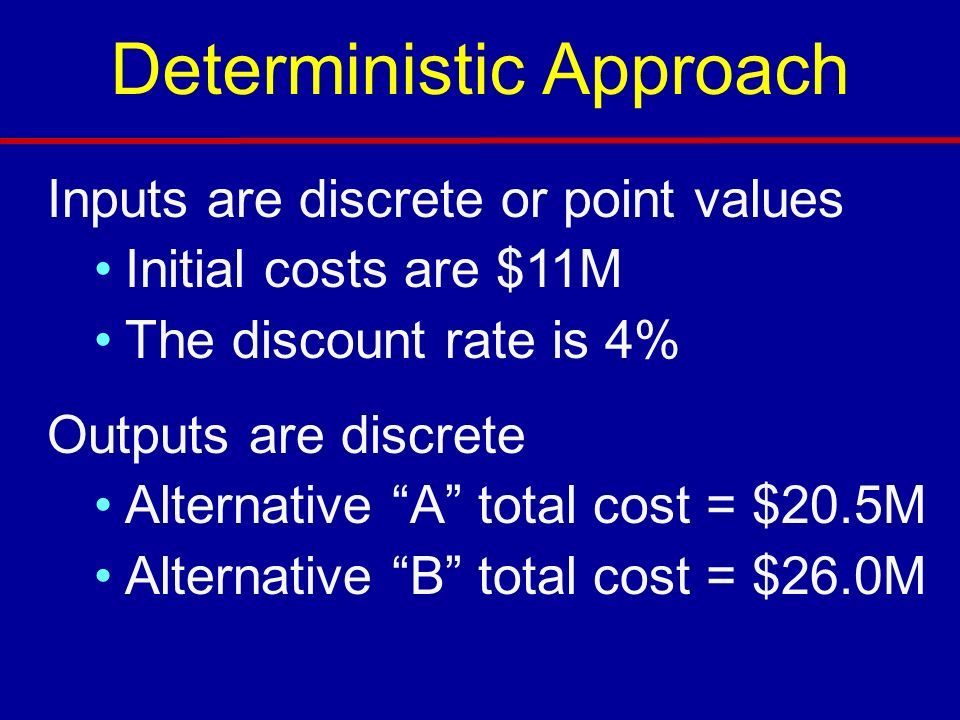 Inputs are discrete or point values Initial costs are $11M The discount rate is 4% Outputs are discrete Alternative A total cost = $20.5M Alternative B total cost = $26.0M Deterministic Approach