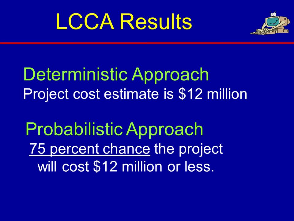 Deterministic Approach Project cost estimate is $12 million Probabilistic Approach 75 percent chance the project will cost $12 million or less. LCCA R