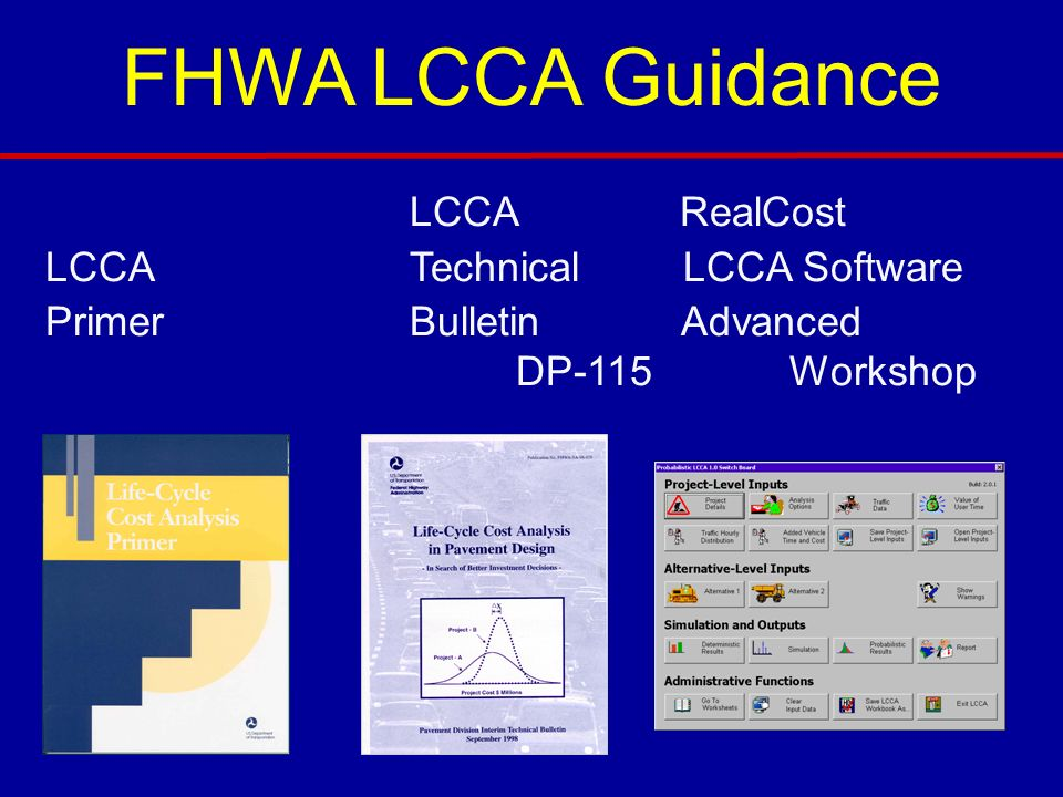 FHWA LCCA Guidance LCCA RealCost LCCA Technical LCCA Software Primer Bulletin Advanced DP-115 Workshop