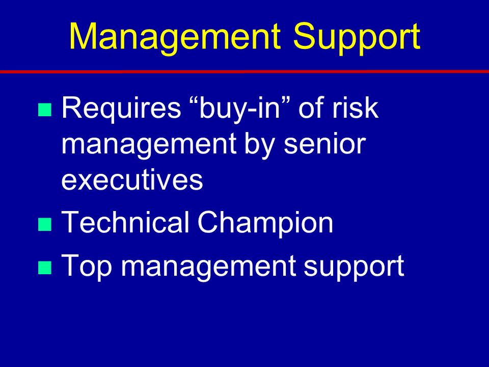 Management Support n Requires buy-in of risk management by senior executives n Technical Champion n Top management support