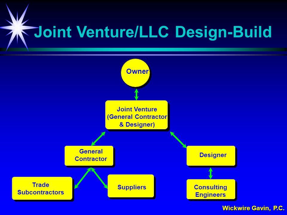 Wickwire Gavin, P.C. Owner Joint Venture (General Contractor & Designer) General Contractor Trade Subcontractors Joint Venture/LLC Design-Build Suppli
