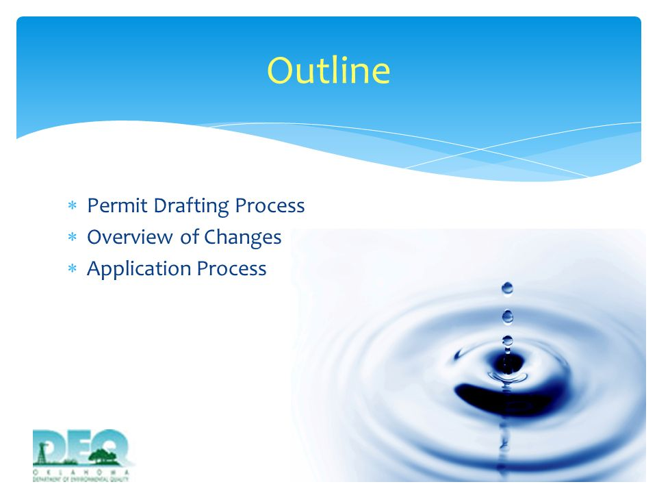 Reviewed EPAs current CGP Developed draft of DEQ CGP Conducted Stakeholder Advisory Committee and DEQ Work Group meetings to discuss proposed changes between December 2011 and February 2012 Submitted final draft to EPA for review on March 20, 2012 Permit Drafting Process