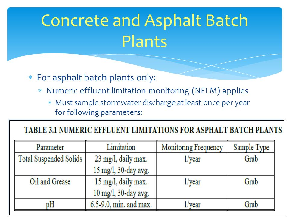 For asphalt batch plants only: NELM continued: Analyses to be conducted by DEQ certified laboratory NELM results to be submitted to DEQ on Discharge Monitoring Reports (DMR) annually by March 1st DMR form can be found at: http;//www.deq.state.ok.us/WQDnew/stormwater/dmr.pdf For construction projects lasting less than one year Collect at least one NELM sample Conduct quarterly visual monitoring Submit ACSCER Concrete and Asphalt Batch Plants