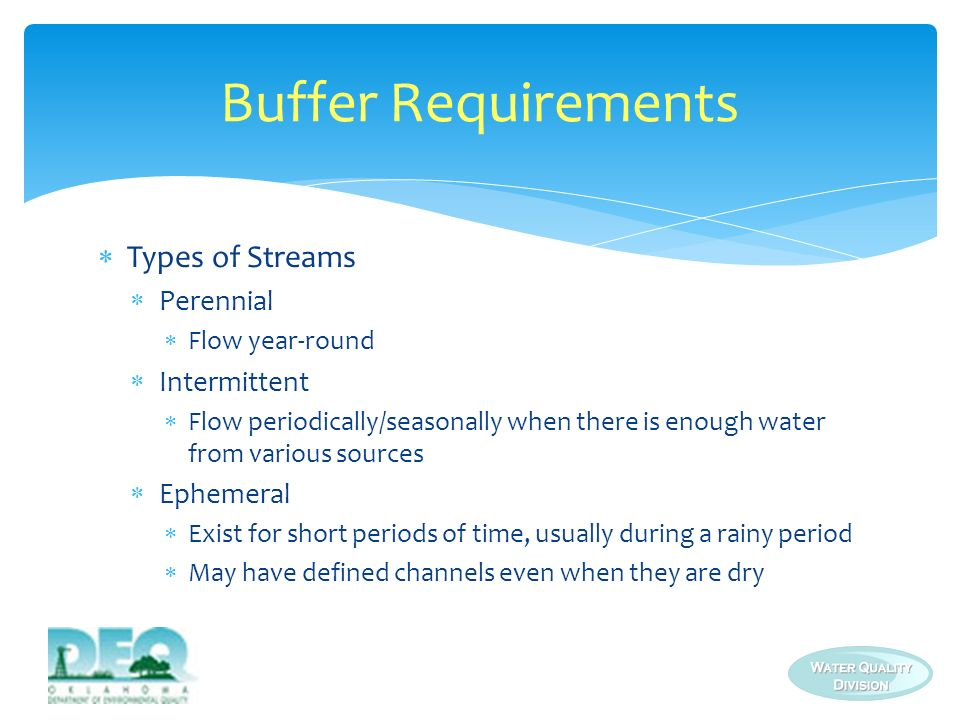 Three compliance alternatives Alternative 1: Provide and maintain a 50/100-foot natural buffer Alternative 2: Provide and maintain >50/100-foot buffer and install additional erosion and sediment controls Alternative 3: Implement equivalent erosion and sediment controls to achieve the same sediment load reduction as provided by a 50/100 foot natural buffer if natural buffer of any size is infeasible Buffer Requirements