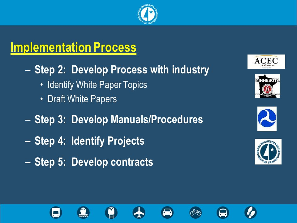 Implementation Process – Step 2: Develop Process with industry Identify White Paper Topics Draft White Papers – Step 3: Develop Manuals/Procedures – S
