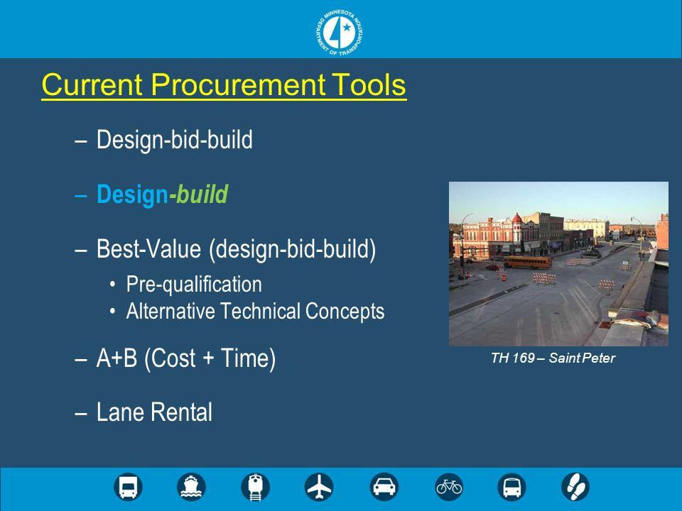 –Design-bid-build – Design -build –Best-Value (design-bid-build) Pre-qualification Alternative Technical Concepts –A+B (Cost + Time) –Lane Rental Current Procurement Tools TH 169 – Saint Peter