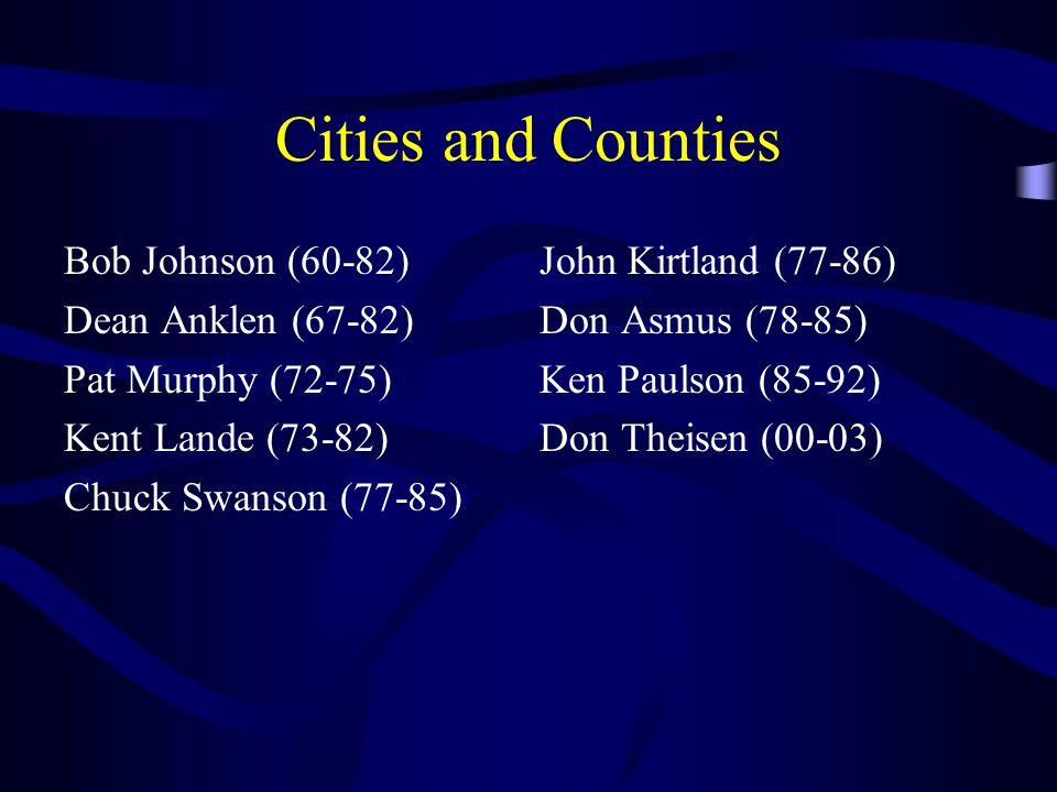 Cities and Counties Bob Johnson (60-82) Dean Anklen (67-82) Pat Murphy (72-75) Kent Lande (73-82) Chuck Swanson (77-85) John Kirtland (77-86) Don Asmu