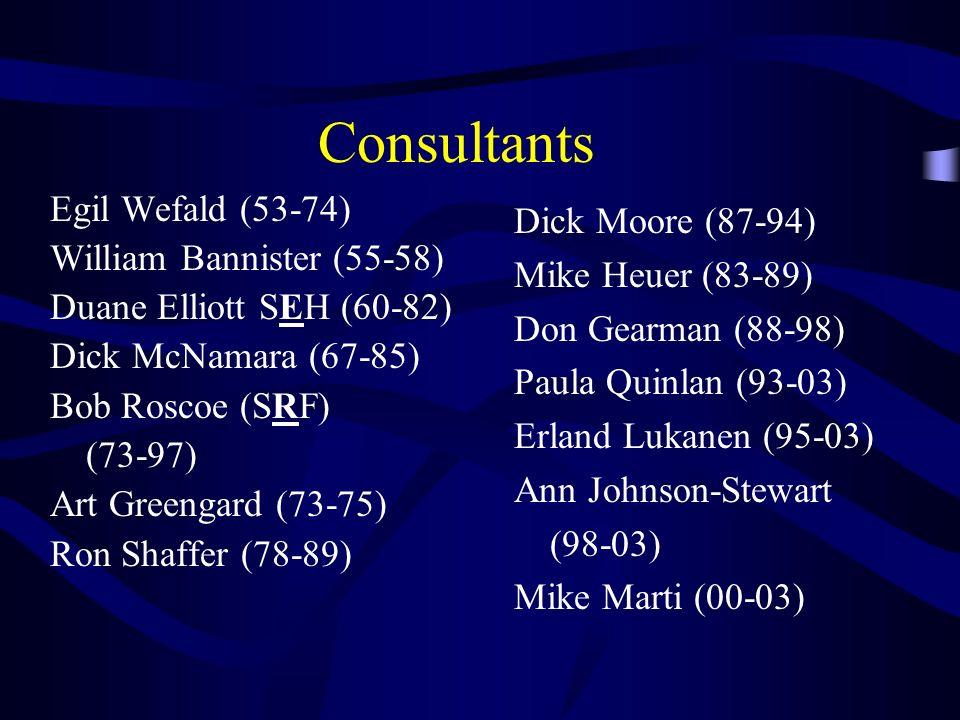 Consultants Egil Wefald (53-74) William Bannister (55-58) Duane Elliott SEH (60-82) Dick McNamara (67-85) Bob Roscoe (SRF) (73-97) Art Greengard (73-7
