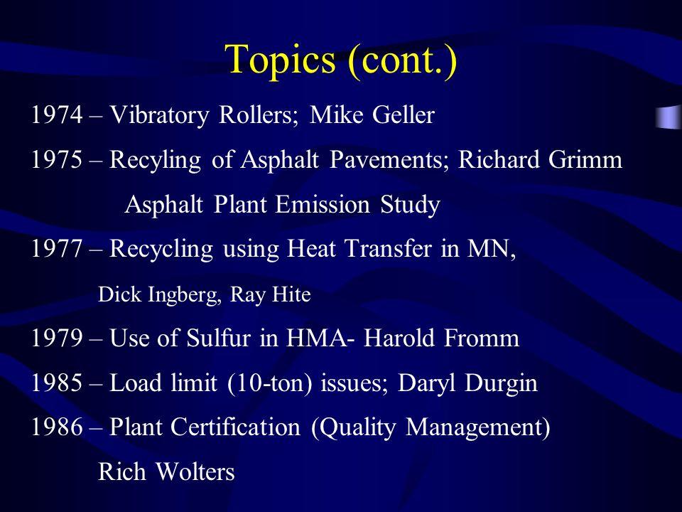 Topics (cont.) 1974 – Vibratory Rollers; Mike Geller 1975 – Recyling of Asphalt Pavements; Richard Grimm Asphalt Plant Emission Study 1977 – Recycling