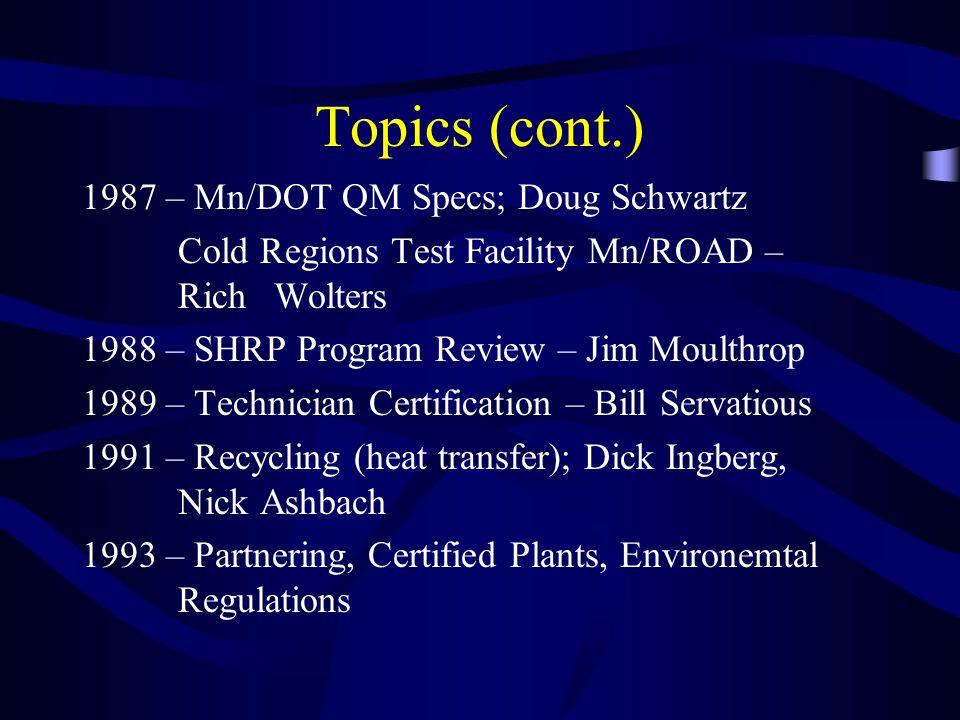 Topics (cont.) 1987 – Mn/DOT QM Specs; Doug Schwartz Cold Regions Test Facility Mn/ROAD – Rich Wolters 1988 – SHRP Program Review – Jim Moulthrop 1989