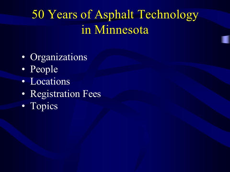 50 Years of Asphalt Technology in Minnesota Organizations People Locations Registration Fees Topics
