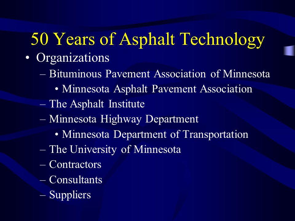 50 Years of Asphalt Technology Organizations –Bituminous Pavement Association of Minnesota Minnesota Asphalt Pavement Association –The Asphalt Institu