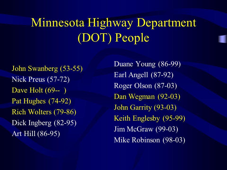 Minnesota Highway Department (DOT) People John Swanberg (53-55) Nick Preus (57-72) Dave Holt (69-- ) Pat Hughes (74-92) Rich Wolters (79-86) Dick Ingb