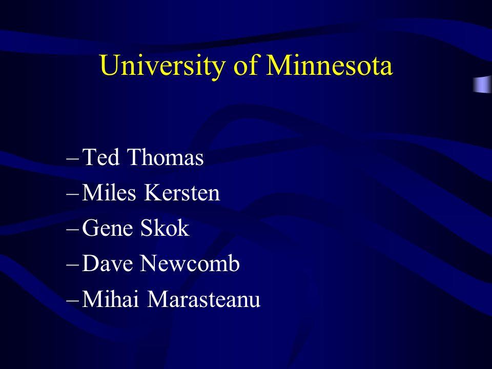 University of Minnesota –Ted Thomas –Miles Kersten –Gene Skok –Dave Newcomb –Mihai Marasteanu