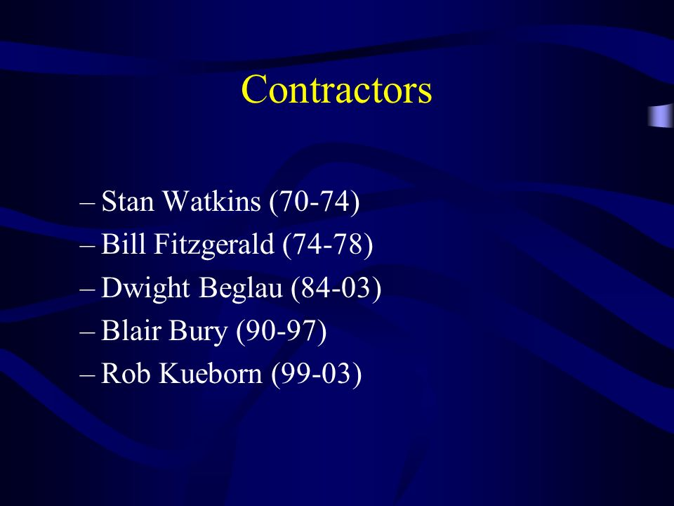 Contractors –Stan Watkins (70-74) –Bill Fitzgerald (74-78) –Dwight Beglau (84-03) –Blair Bury (90-97) –Rob Kueborn (99-03)