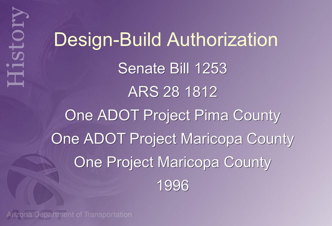 Design-Build Authorization Senate Bill 1253 ARS 28 1812 One ADOT Project Pima County One ADOT Project Maricopa County One Project Maricopa County 1996