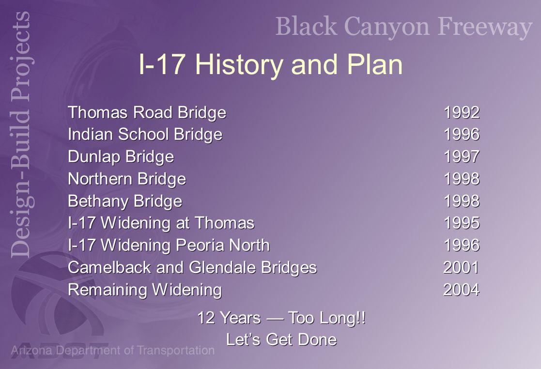 I-17 History and Plan Thomas Road Bridge1992 Indian School Bridge1996 Dunlap Bridge1997 Northern Bridge1998 Bethany Bridge1998 I-17 Widening at Thomas