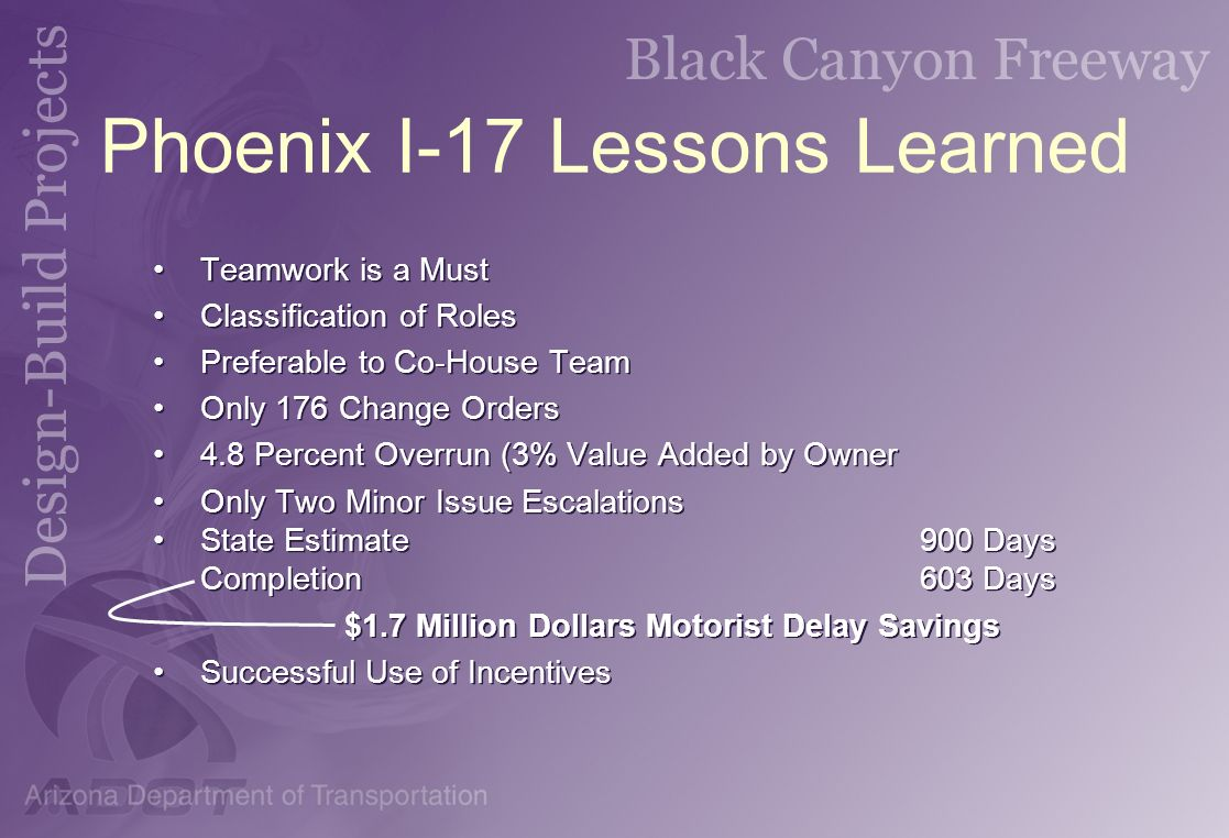 Phoenix I-17 Lessons Learned Teamwork is a Must Classification of Roles Preferable to Co-House Team Only 176 Change Orders 4.8 Percent Overrun (3% Val