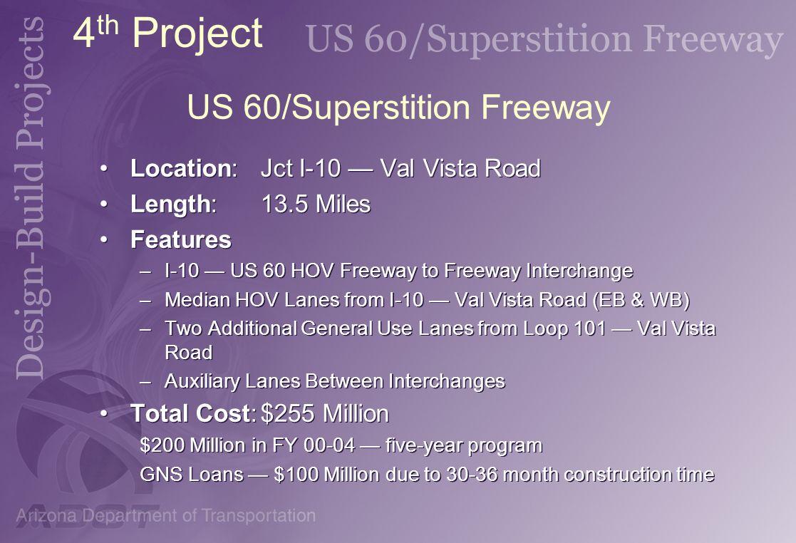 US 60/Superstition Freeway Location:Jct I-10 Val Vista Road Length:13.5 Miles Features –I-10 US 60 HOV Freeway to Freeway Interchange –Median HOV Lane