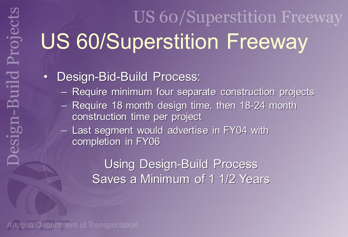 US 60/Superstition Freeway Design-Bid-Build Process: –Require minimum four separate construction projects –Require 18 month design time, then 18-24 mo