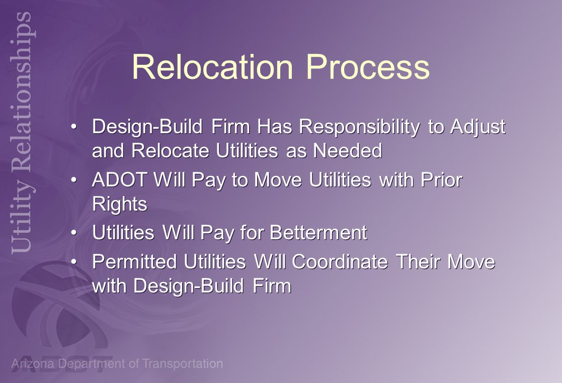 Relocation Process Design-Build Firm Has Responsibility to Adjust and Relocate Utilities as Needed ADOT Will Pay to Move Utilities with Prior Rights U
