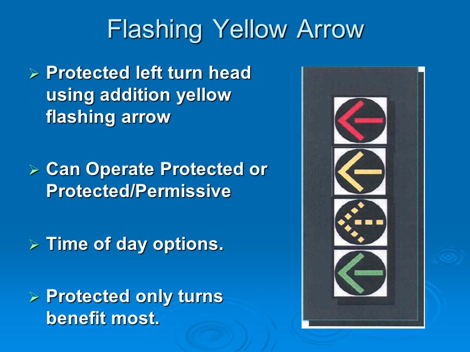 Flashing Yellow Arrow Protected left turn head using addition yellow flashing arrow Protected left turn head using addition yellow flashing arrow Can Operate Protected or Protected/Permissive Can Operate Protected or Protected/Permissive Time of day options.