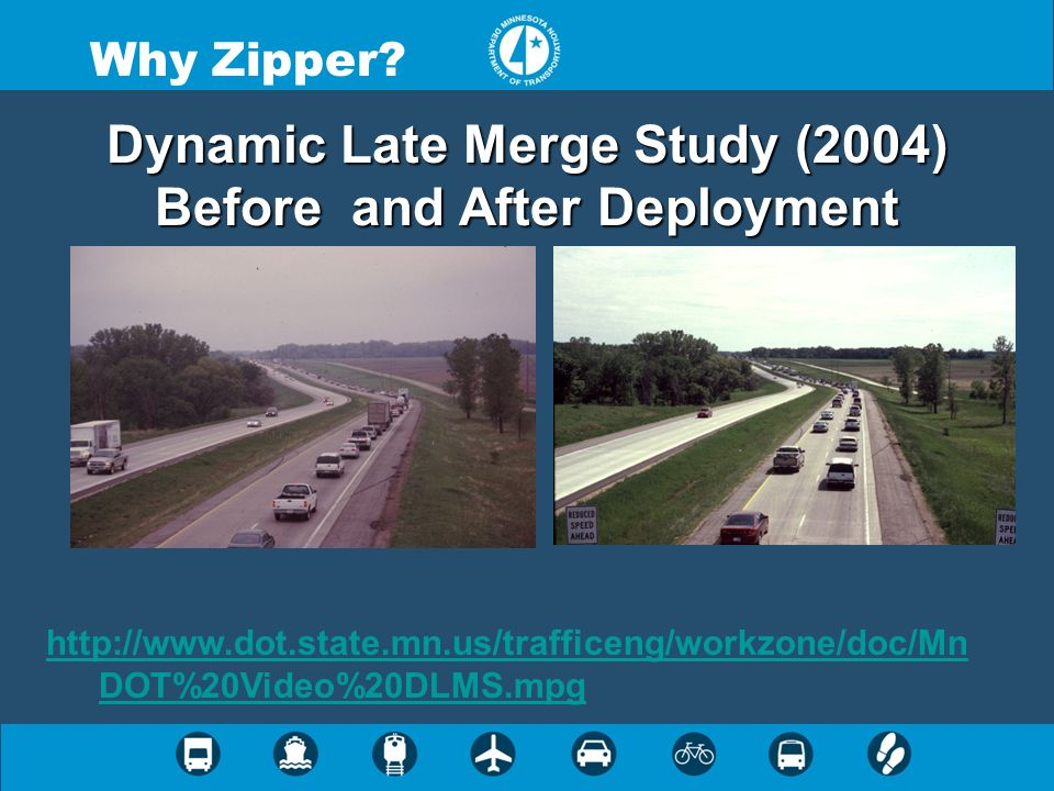 Dynamic Late Merge Study (2004) Before and After Deployment Why Zipper? http://www.dot.state.mn.us/trafficeng/workzone/doc/Mn DOT%20Video%20DLMS.mpg