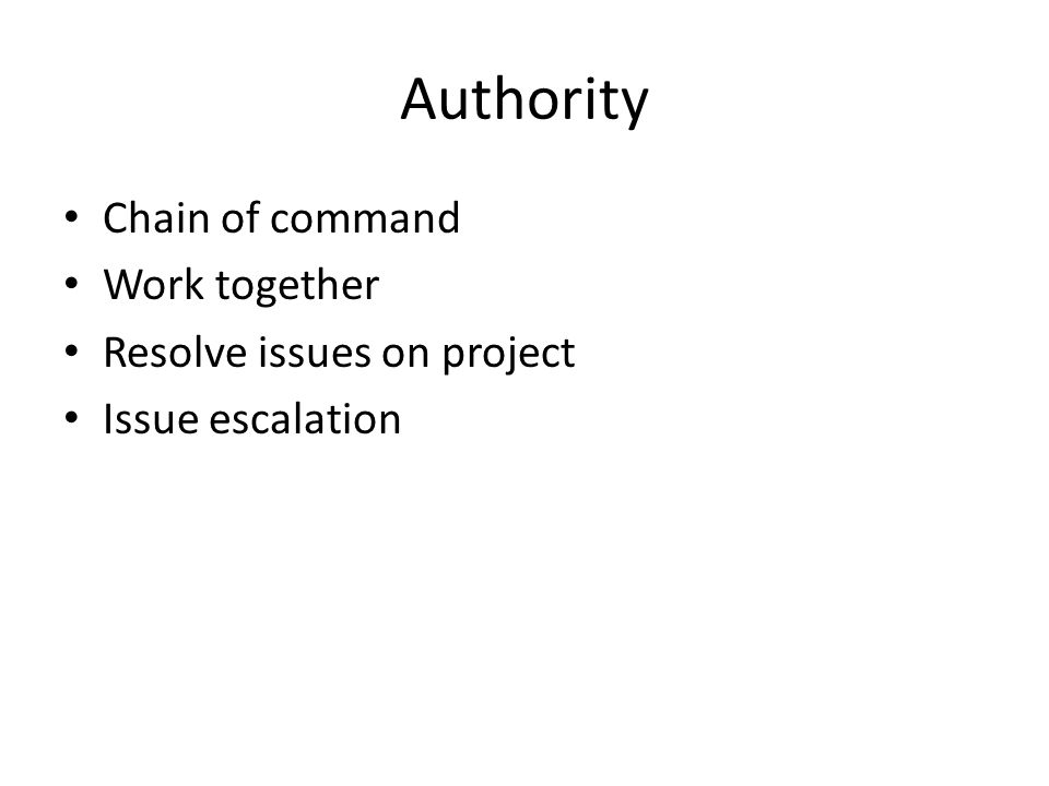 Authority Chain of command Work together Resolve issues on project Issue escalation