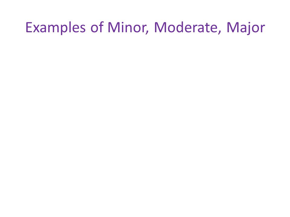 Examples of Minor, Moderate, Major