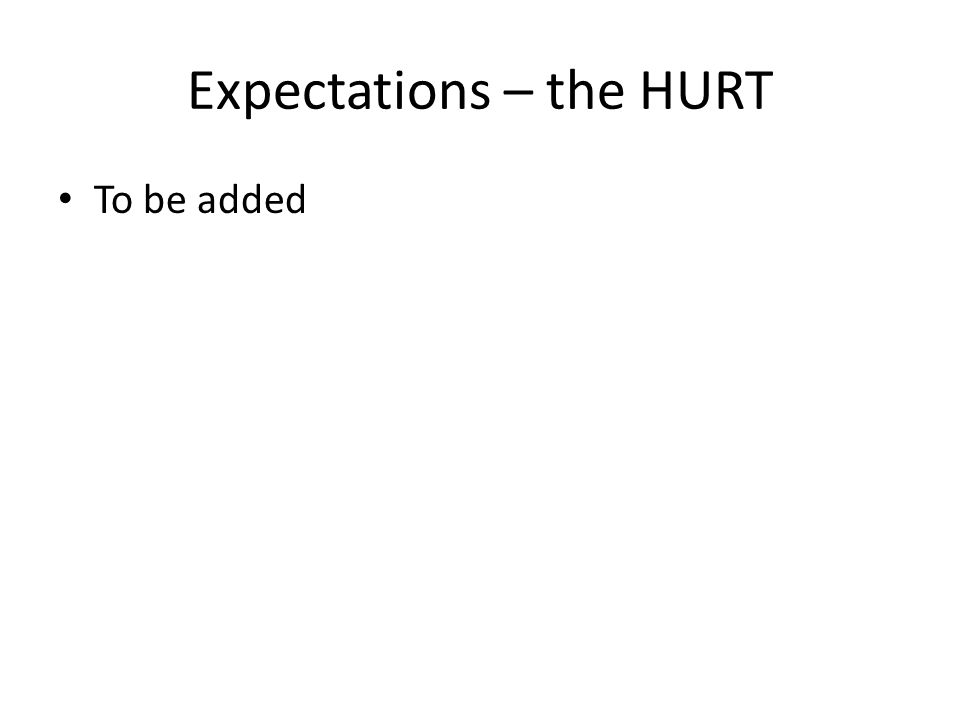 Expectations – the HURT To be added