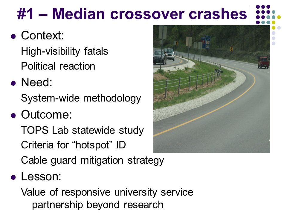 #1 – Median crossover crashes Context: High-visibility fatals Political reaction Need: System-wide methodology Outcome: TOPS Lab statewide study Criteria for hotspot ID Cable guard mitigation strategy Lesson: Value of responsive university service partnership beyond research