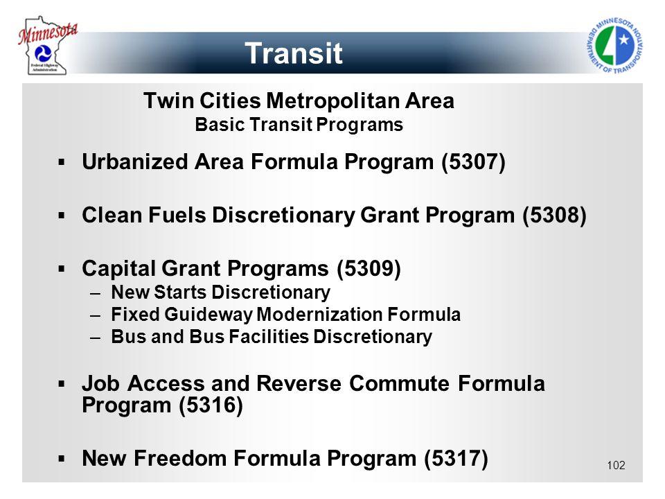 102 Twin Cities Metropolitan Area Basic Transit Programs Urbanized Area Formula Program (5307) Clean Fuels Discretionary Grant Program (5308) Capital