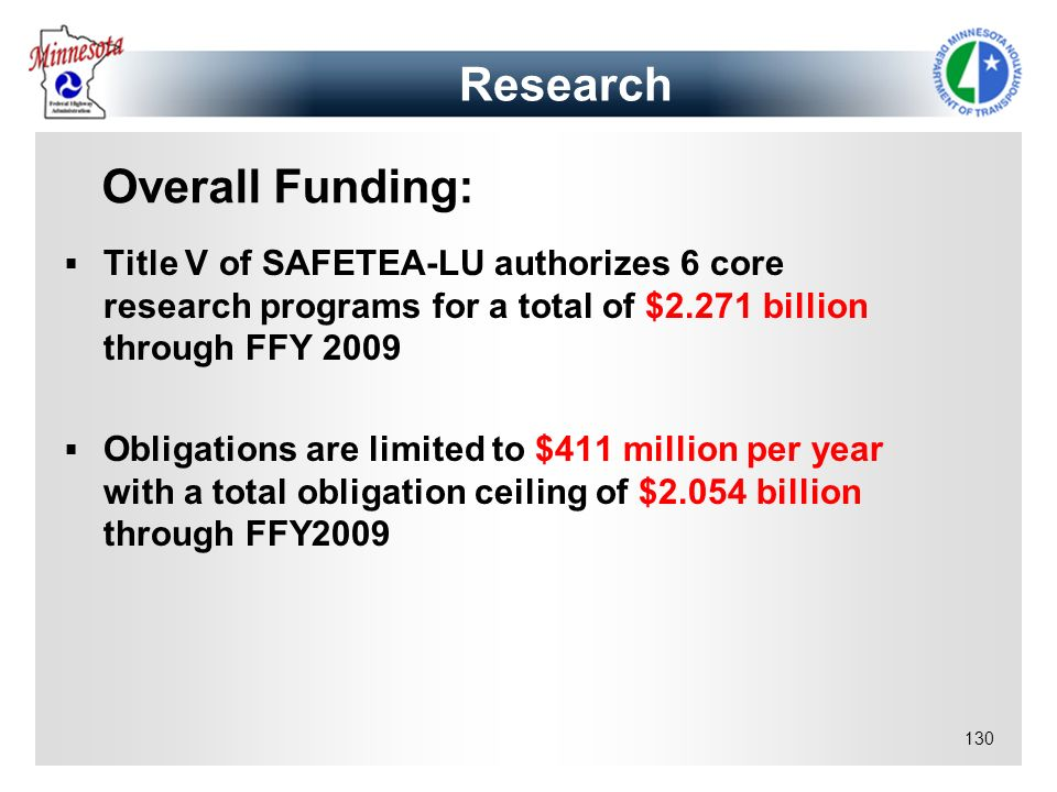 130 Research Title V of SAFETEA-LU authorizes 6 core research programs for a total of $2.271 billion through FFY 2009 Obligations are limited to $411