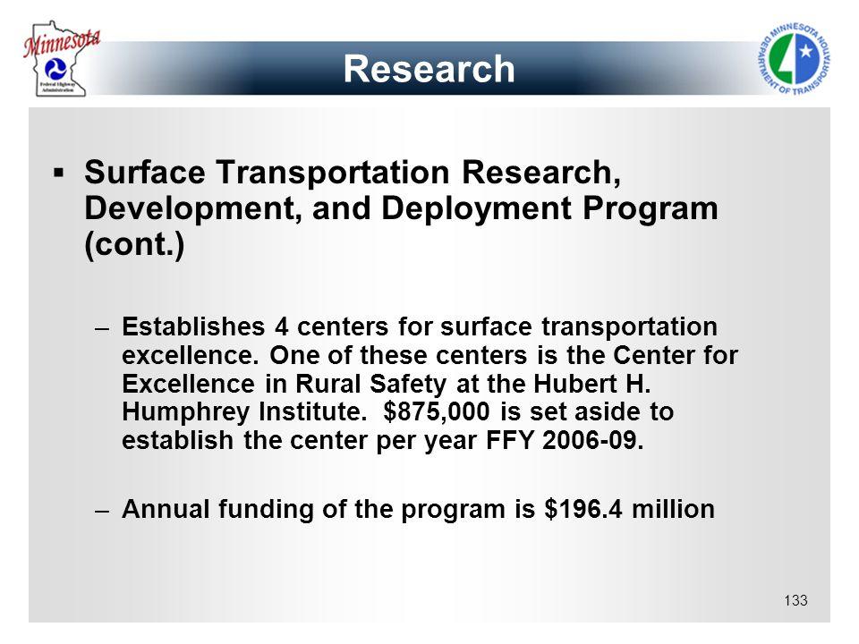 133 Research Surface Transportation Research, Development, and Deployment Program (cont.) –Establishes 4 centers for surface transportation excellence