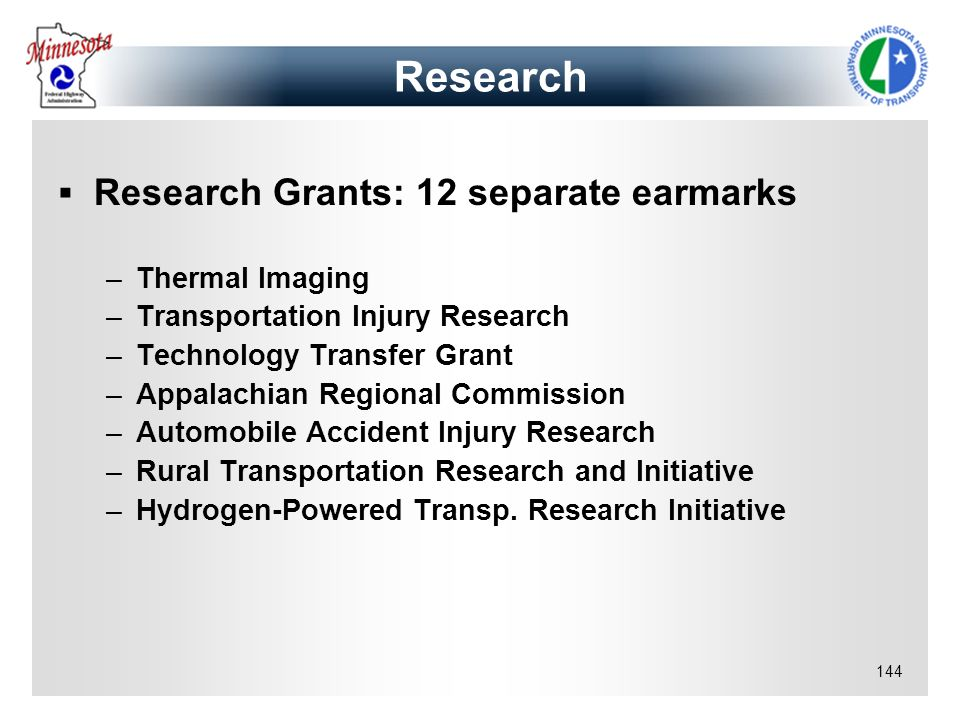 144 Research Grants: 12 separate earmarks –Thermal Imaging –Transportation Injury Research –Technology Transfer Grant –Appalachian Regional Commission