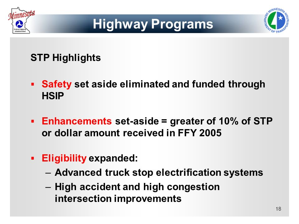 18 STP Highlights Safety set aside eliminated and funded through HSIP Enhancements set-aside = greater of 10% of STP or dollar amount received in FFY