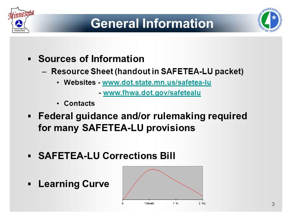 3 General Information Sources of Information –Resource Sheet (handout in SAFETEA-LU packet) Websites - www.dot.state.mn.us/safetea-luwww.dot.state.mn.