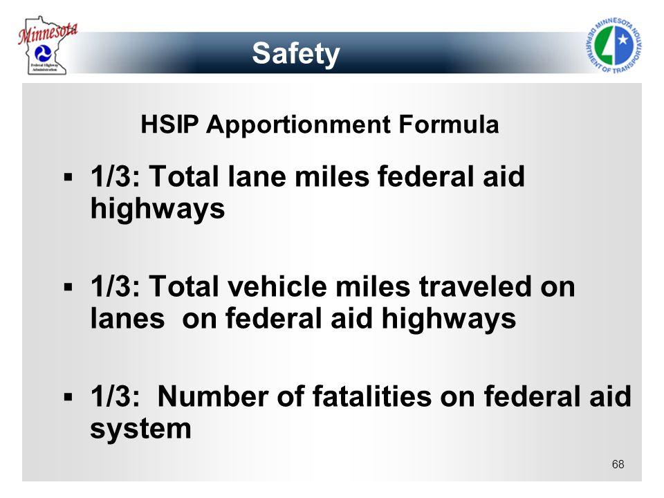 68 1/3: Total lane miles federal aid highways 1/3: Total vehicle miles traveled on lanes on federal aid highways 1/3: Number of fatalities on federal