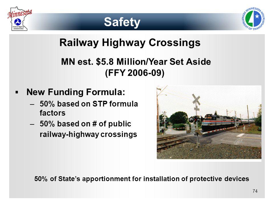 74 Railway Highway Crossings New Funding Formula: –50% based on STP formula factors –50% based on # of public railway-highway crossings MN est. $5.8 M