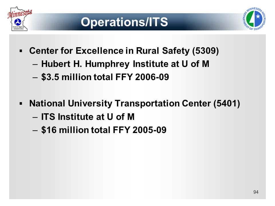 94 Center for Excellence in Rural Safety (5309) –Hubert H. Humphrey Institute at U of M –$3.5 million total FFY 2006-09 National University Transporta