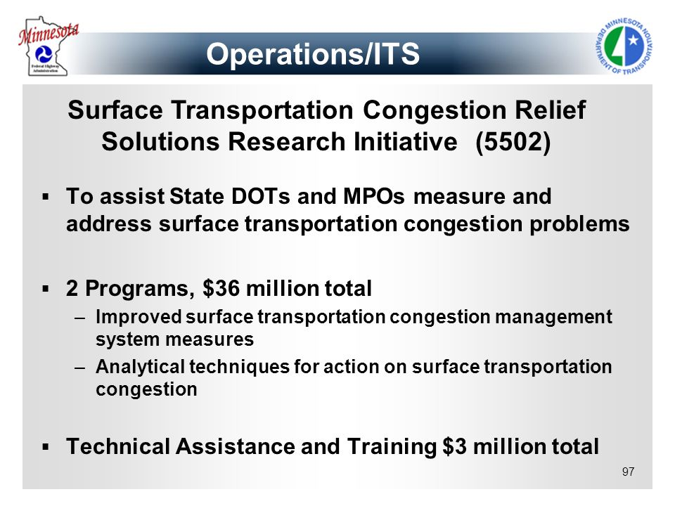 97 To assist State DOTs and MPOs measure and address surface transportation congestion problems 2 Programs, $36 million total –Improved surface transp