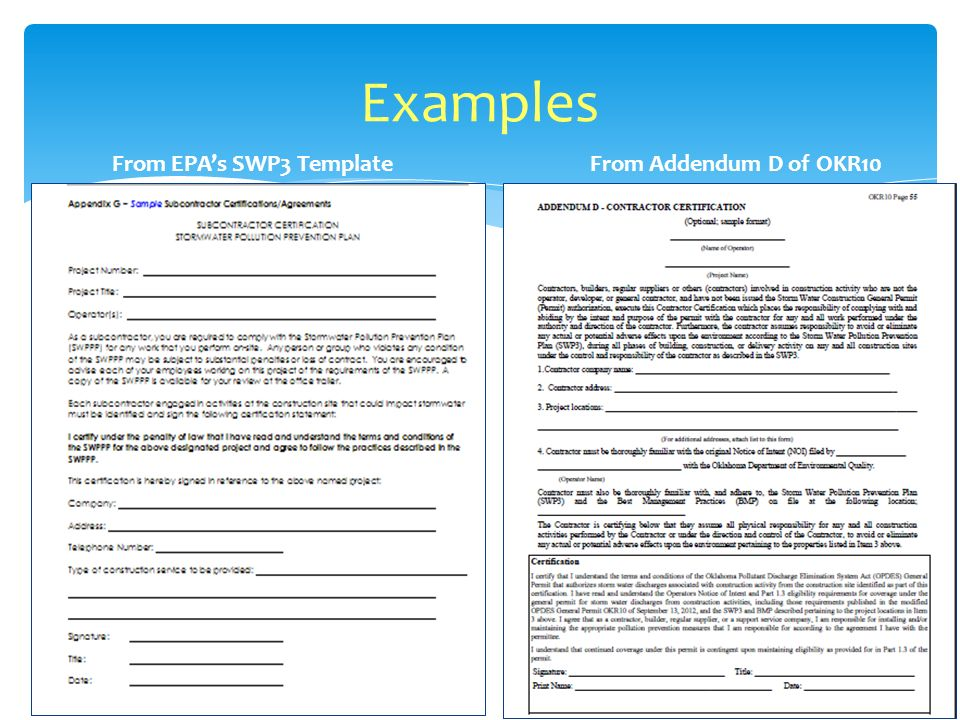 Examples From EPAs SWP3 Template From Addendum D of OKR10