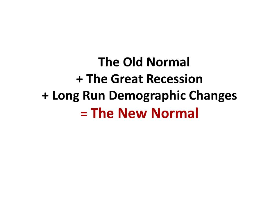 The Old Normal + The Great Recession + Long Run Demographic Changes = The New Normal