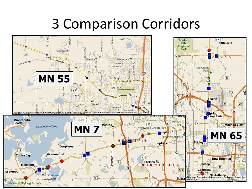 3 Comparison Corridors MN 7 MN 65 MN 55 18